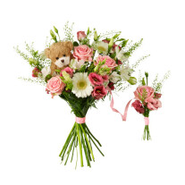 Babybirth bouquet with teddy bear